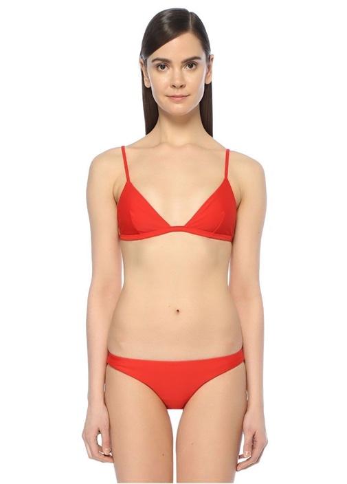 Kırmızı Üçgen Bikini Üstü