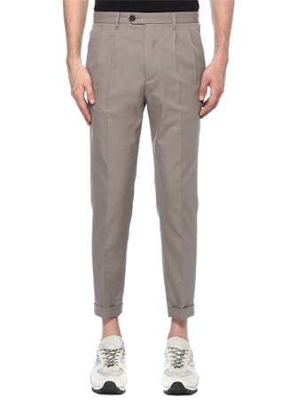 Gri Normal Bel Dar Paça Pileli Pantolon