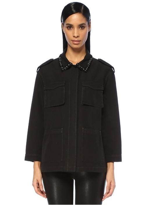 Beymen Club Siyah Yakası İşlemeli Gabardin Safari Ceket – 349.0 TL