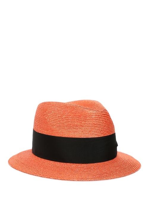 Turuncu Siyah Bantlı Erkek Hasır Şapka
