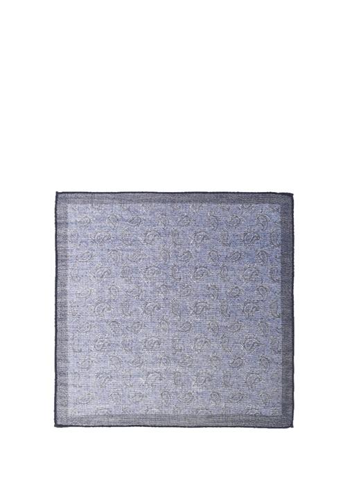 Lacivert Şerit Detaylı Yaprak Desenli Poşet Mendil