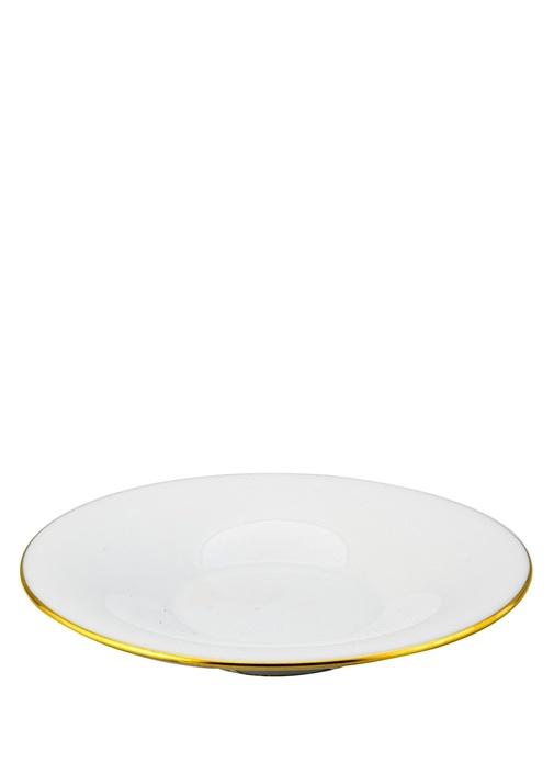 Beyaz Gold Detaylı Porselen Fincan Tabağı