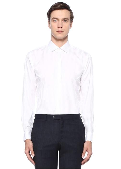 Custom Fit Beyaz Klasik Yaka Çizgili Smokin Gömlek