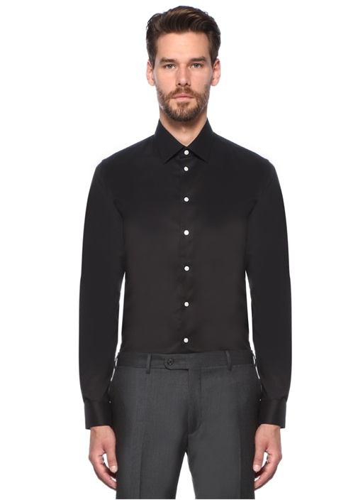 Slim Fit Siyah İngiliz Yaka Gömlek