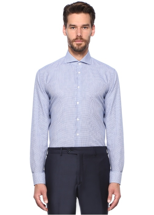 Custom Fit İtalyan Yaka Pötikareli Gömlek