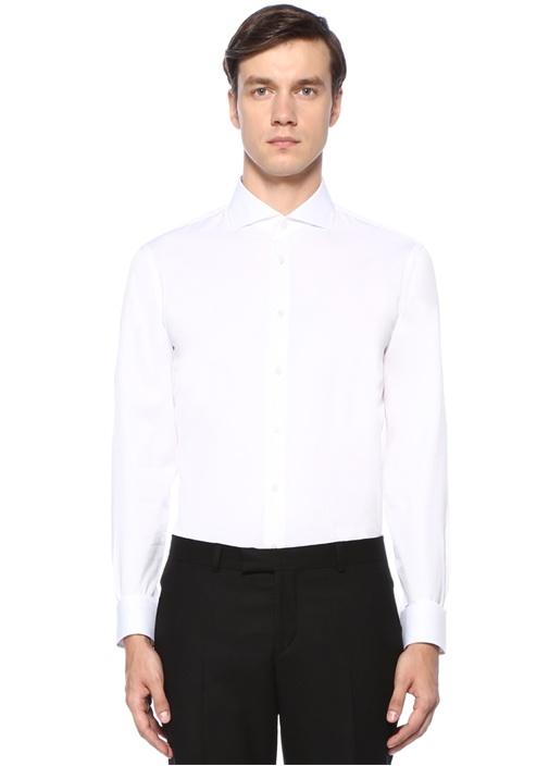 Custom Fit İtalyan Yaka Beyaz Gömlek