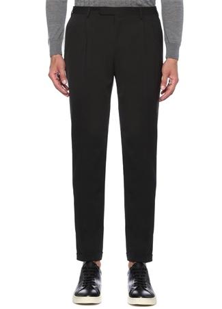 Slim Fit Drop 8 Çift Pileli Siyah Pantolon