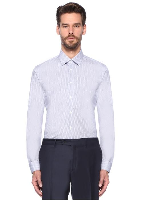 Custom Fit Mavi Mikro Desenli Gömlek