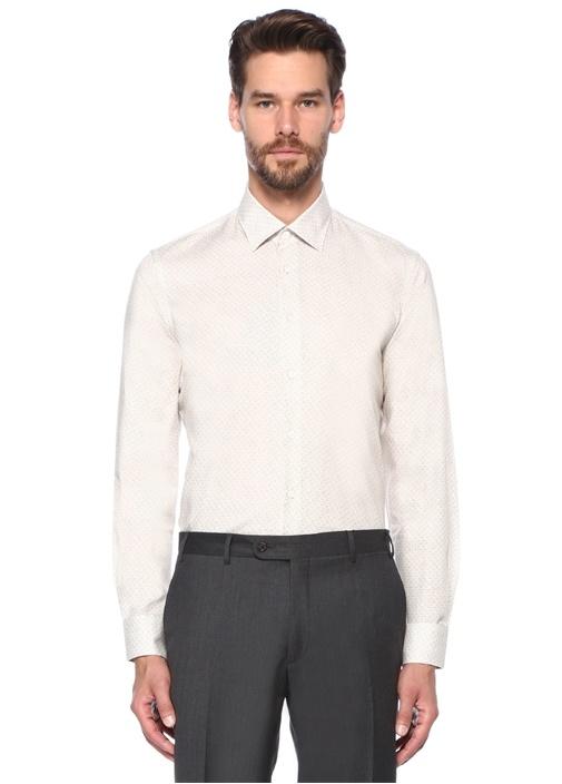 Custom Fit Beyaz Mikro Desenli İngiliz Yaka Gömlek