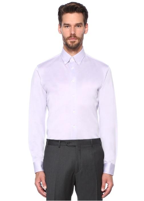 Custom Fit Lila Düğmeli Yaka Gömlek