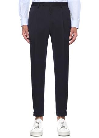 Slim Fit Drop 8 Çift Pileli Lacivert Pantolon