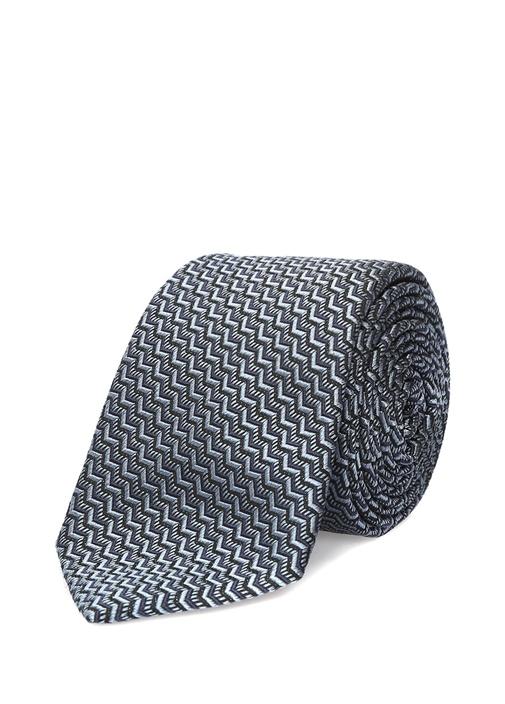 Mavi Zikzak Desenli İpek Kravat