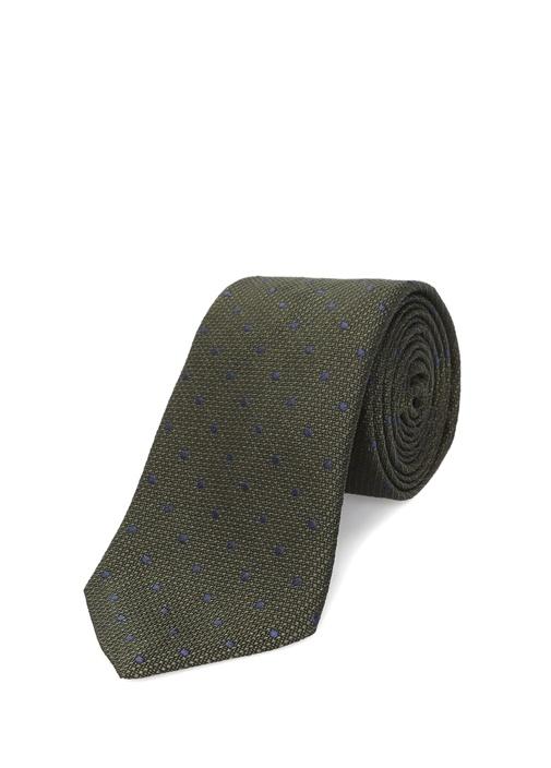Yeşil Mikro Puantiye Desenli İpek Kravat