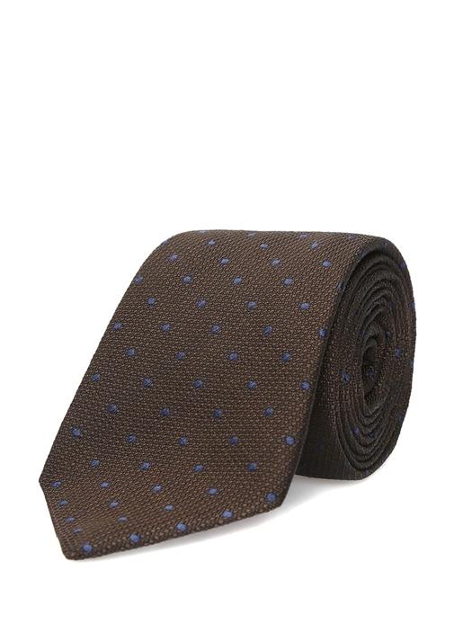 Kahverengi Mikro Desenli İpek Kravat