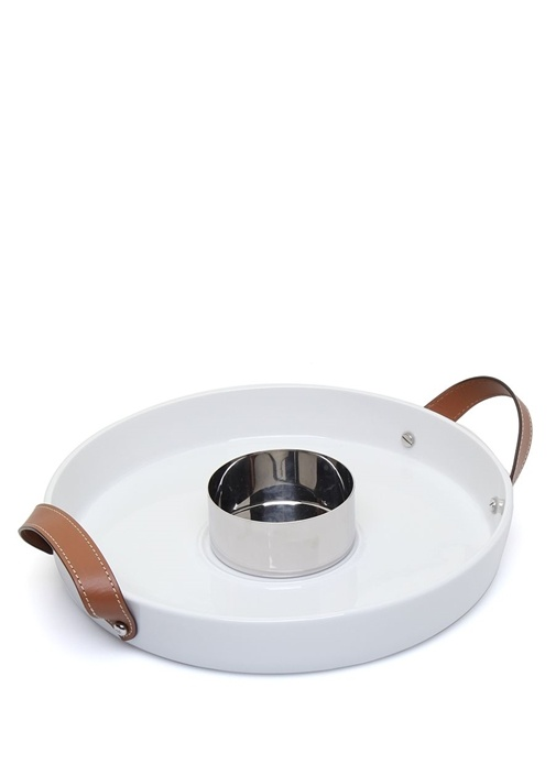 Beyaz Sosluk Bölümlü Porselen Servis Tabağı
