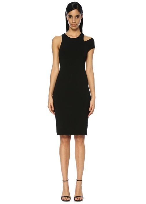 Siyah Omuz Detaylı Mini Triko Elbise