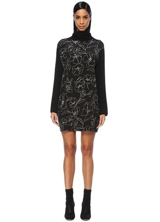 Siyah Balıkçı Yaka Çiçekli Mini Triko Elbise