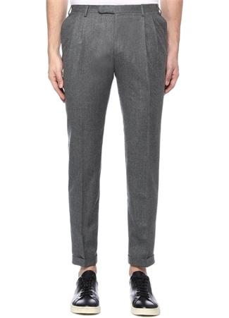 Slim Fit Drop 8 Gri Çift Pileli Yün Pantolon