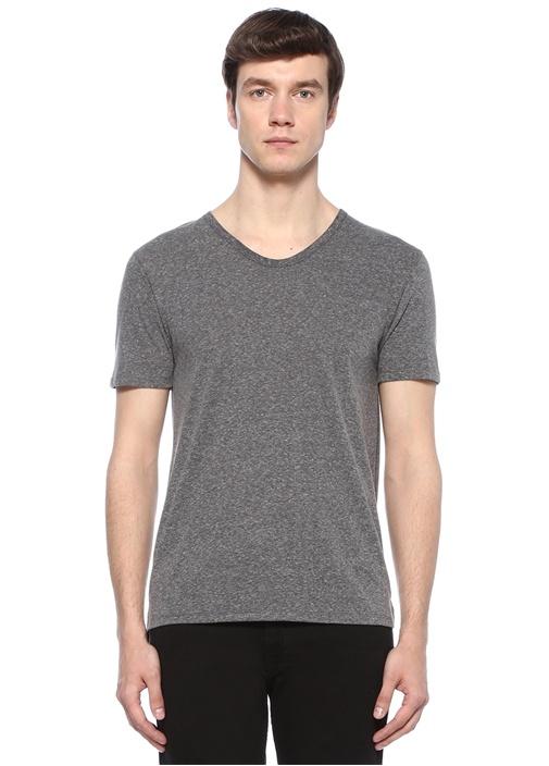 Gri Melanj Kayık Yaka Basic T-shirt