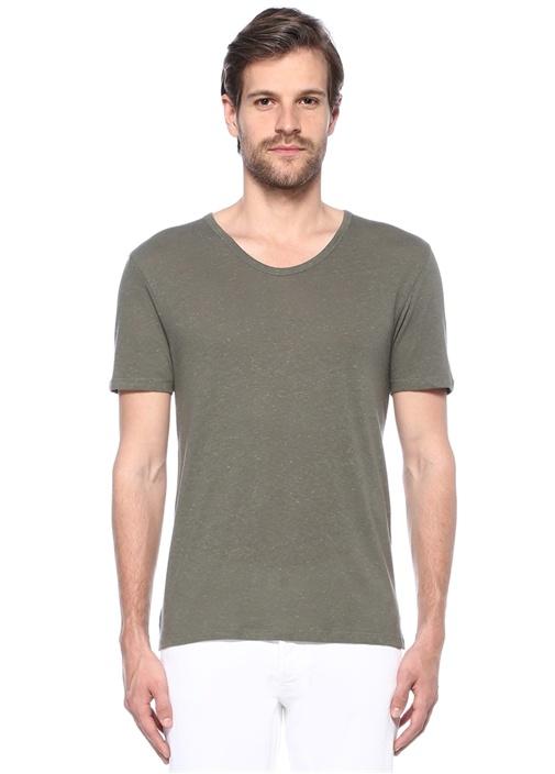 Haki V Yaka Basic T-shirt