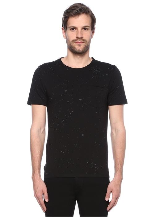 Siyah Bisiklet Yaka Desenli Cepli BasicT-shirt