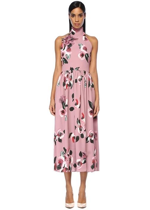 Pembe Dik Yaka Çiçekli Sırt Detaylı Maksi Elbise
