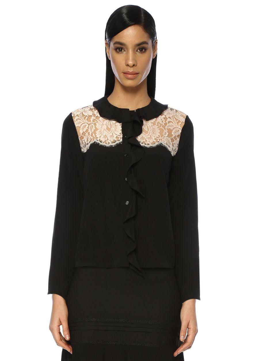 Beymen Collection Siyah Fırfırlı Dantel Detaylı İpek Gömlek