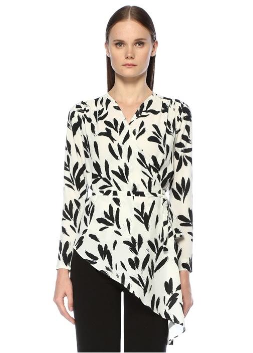 Siyah Beyaz Fırça Boya Baskılı Anvelop Bluz