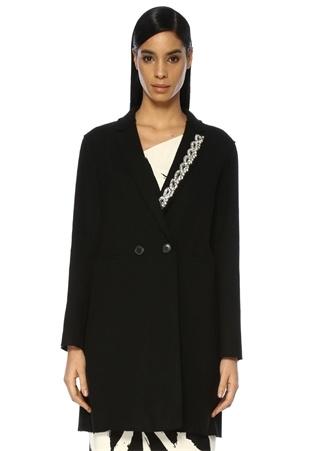Siyah Kelebek Yaka Taş İşlemeli Yün Palto