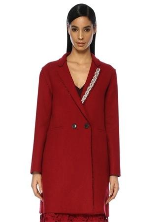Kırmızı Kelebek Yaka Taş İşlemeli Yün Palto