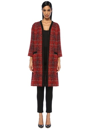 Kırmızı Siyah Zincir Şeritli Tweed Palto