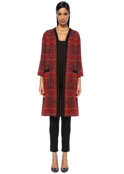 Beymen Collectıon Kırmızı Siyah Zincir Şeritli Tweed Palto – 679.0 TL