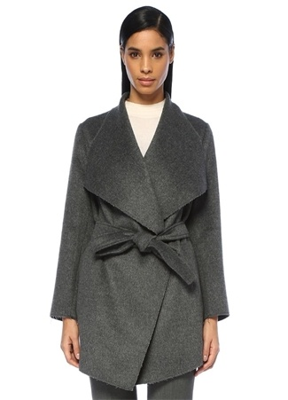 Füme Şal Yaka Kuşaklı Yün Palto