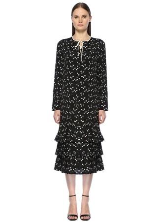 Siyah Çiçekli Yakası Bağlı Midi İpek Elbise