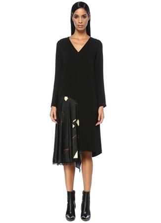 Siyah V Yaka Garnili Asimetrik Midi İpek Elbise
