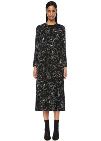 Siyah Çiçek Desenli Midi Krep Elbise
