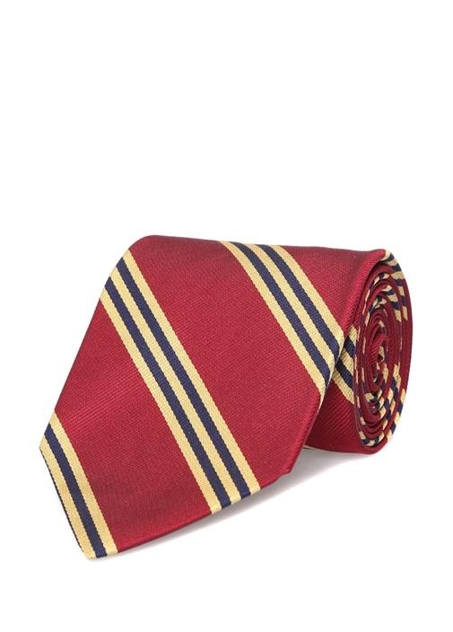 Bordo Sarı Çizgili Erkek İpek Kravat