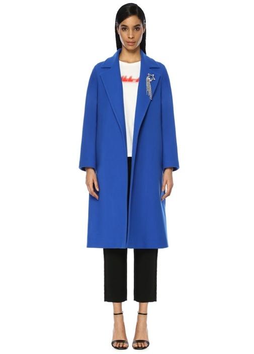 Academıa Mavi Kelebek Yaka Taş Broş Detaylı Yün Palto – 799.0 TL