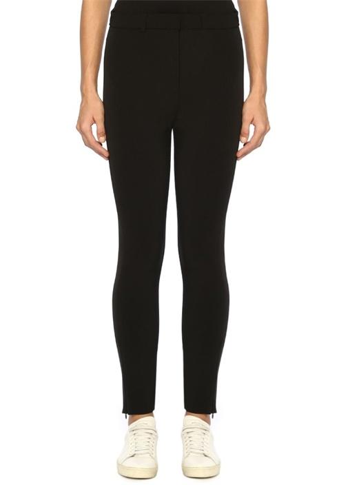 Siyah Normal Bel Paçası Fermuarlı Tayt Pantolon