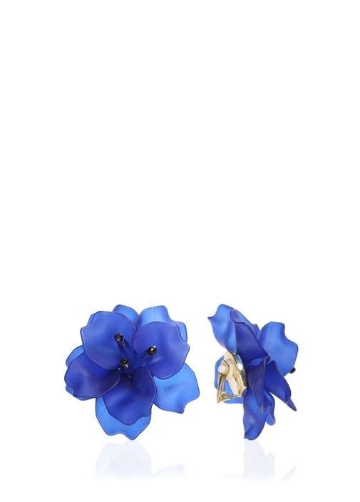 Lacivert Çiçek Formlu Küpe