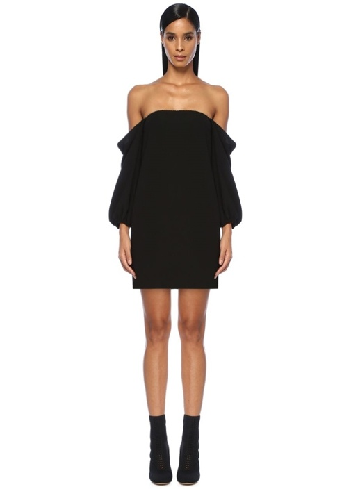 Siyah Omzu Açık Boncuk Detaylı Mini Elbise