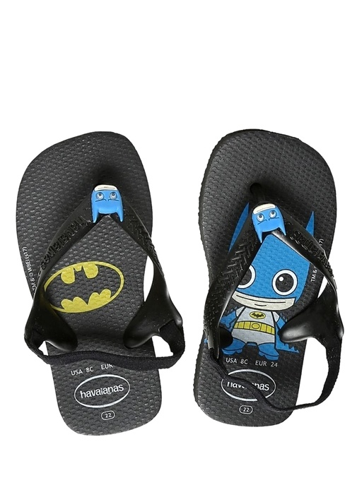 Batman Baskılı Siyah Erkek Bebek Plaj Terliği