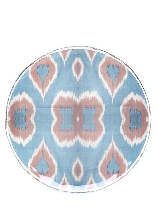 Mavi Pembe Etnik Desenli Porselen Dekoratif Tabak