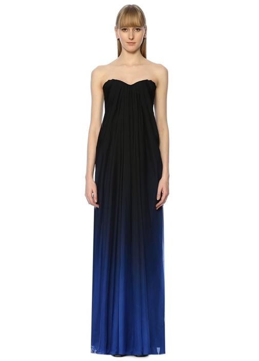 Mavi Degrade Straplez Drapeli Maksi İpek Elbise