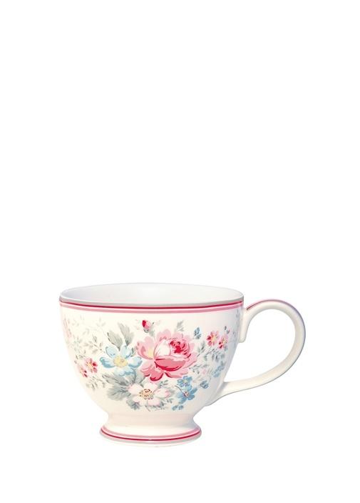 Marie Çiçekli Ayaklı Porselen Çay Fincanı