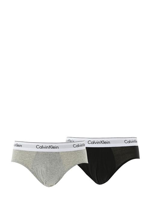 2li Siyah Gri Beli Logo Bantlı Cotton Streç Slip