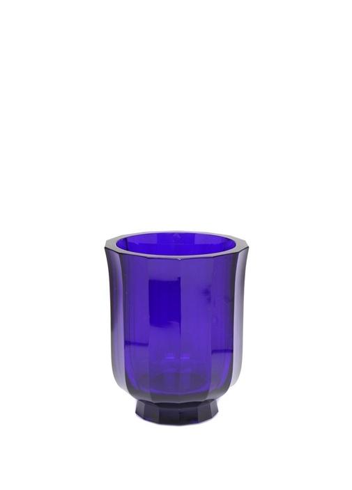 Mavi Çizgi Dokulu Kristal Vazo