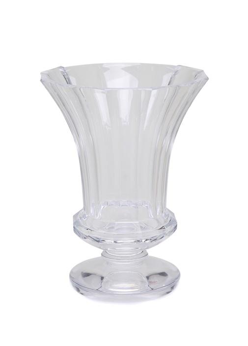 Şeffaf Çizgi Dokulu Kristal Vazo