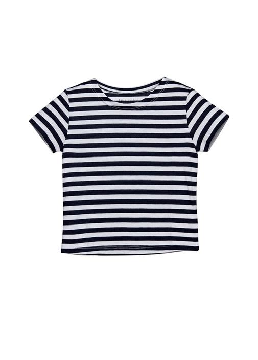 Lacivert Beyaz Çizgili Unisex Çocuk Basic T-shirt