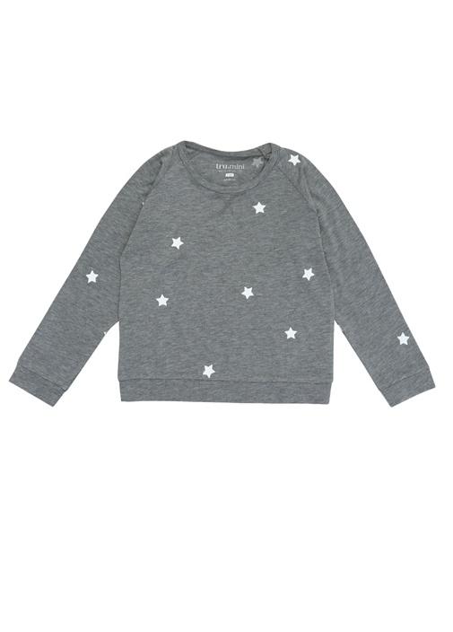 Gri Beyaz Yıldız Baskılı Kız Çocuk Sweatshirt